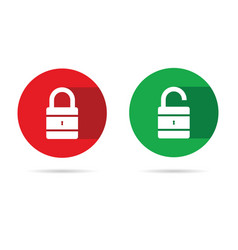 lock and unlock icon with white padlock vector image