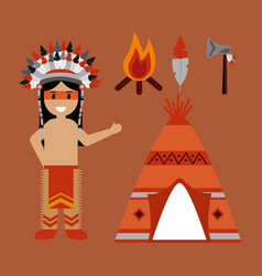 Native american indian character teepee axe and vector