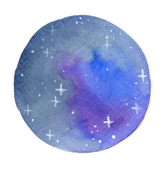 night sky with glitter star circle shape frame vector image