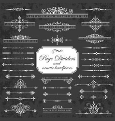 page dividers and ornate headpieces on chalkboard vector image