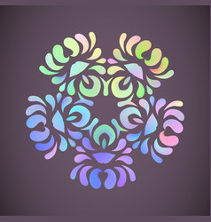 pastel rainbow mandala with floral patterns vector image