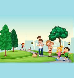 people spend holiday in the park vector image