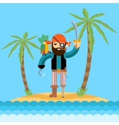 Pirate on treasure island vector