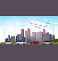 Plane flying over smart city 5g online vector