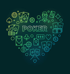 Poker concept heart-shaped colorful outline vector