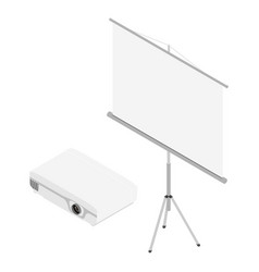 projector and screen isometric view realistic vector image