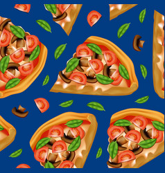 realistic detailed 3d pizza seamless pattern vector image