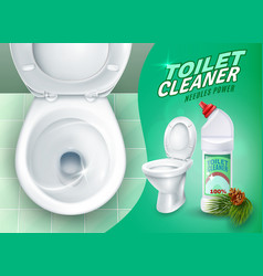 Realistic toilet and cleaner gel poster vector