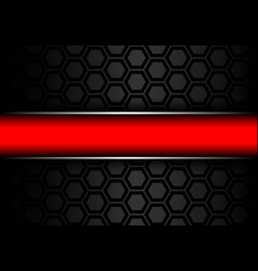 red banner silver line on black metal hexagon mesh vector image