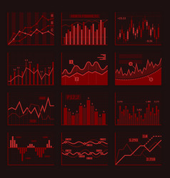 red business charts and graphics set vector image