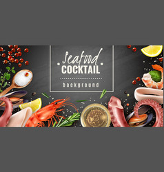 Seafood cocktail background poster vector