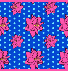 Seamless floral pattern with pink amaryllis vector