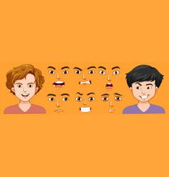 Set man with different facial express vector