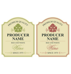 set of two wine labels with vine leaves vector image