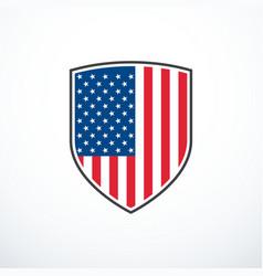 shield with usa flag vector image