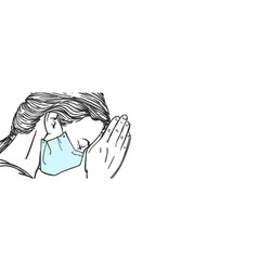 Sketch woman in medical face mask praying vector