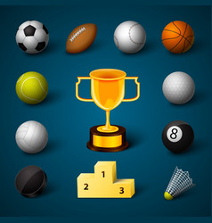Sports Realistic Icons Set vector image vector image