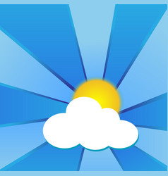 Sun with clouds and blue beams vector