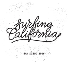 Surfing california lettering vector