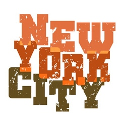 T shirt typography New York green orange vector image