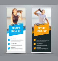 templates of white and black roll-up banners on vector image