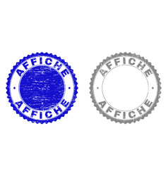 Textured affiche grunge stamp seals with ribbon vector