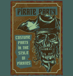 The dead pirate in hat vector