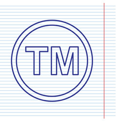 trade mark sign navy line icon on vector image