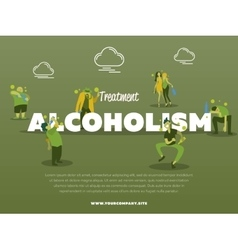 Treatment alcoholism banner with drunk alcoholic vector