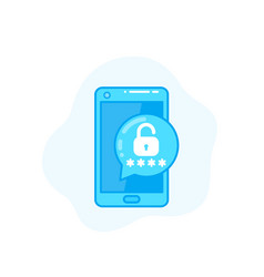 Unlock with password mobile authentication icon vector