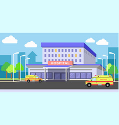 Urban hospital building exterior with ambulances vector
