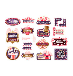 vintage circus labels sign boards and carnival vector image
