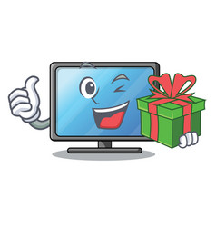 With gift lcd tv in shape of mascot vector