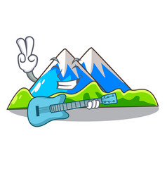 With guitar mountain scenery isolated from the vector