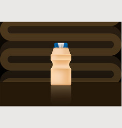 yakult bottle on brown bg vector image