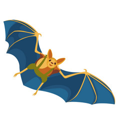 Yellow bat with blue wings hand drawn on white vector