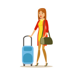young woman traveling with suitcase colorful vector image