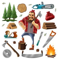 deforestation lumberjack icon set vector image