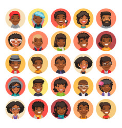 flat african american round avatars on color vector image vector image