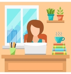 Pretty Young Woman Working At Office Concept vector image vector image
