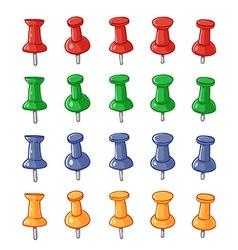 Set of push pins vector image vector image