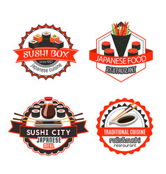 sushi japanese food isolated badge set design vector image vector image