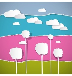 Abstract Trees Clouds on Retro Torn Paper vector image vector image
