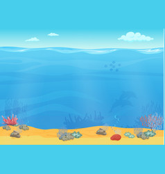 Cartoon sea bottom background for game design vector image