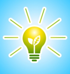 ecology bulb with rays vector image vector image