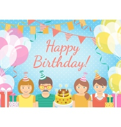Kids Birthday Party Blue Background vector image