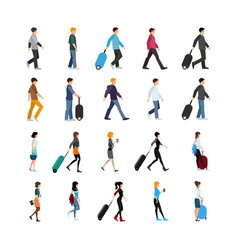 people and baggage set vector image
