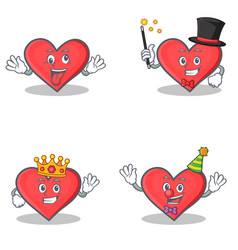 set of heart character with crazy magician king vector image