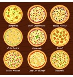 Set of pizza flat icon margherita bruschetta vector image