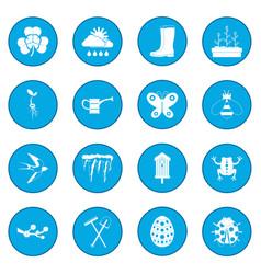spring icon blue vector image